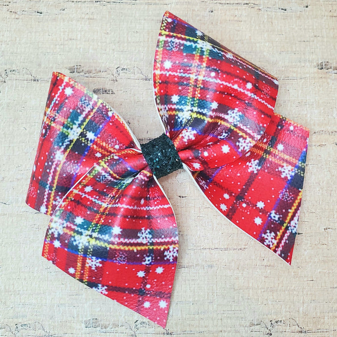 Christmas Plaid Leatherette Bow (RTS)