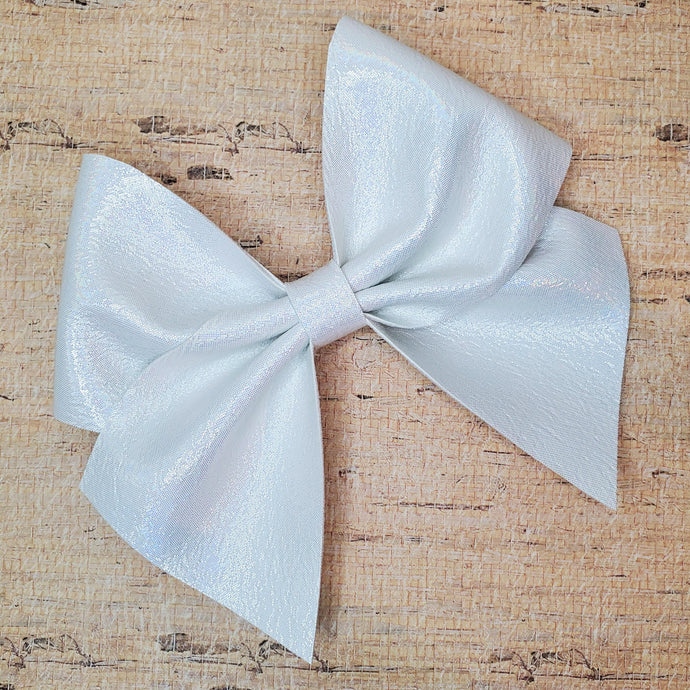 Snow Iridescent Leatherette Bow (RTS)