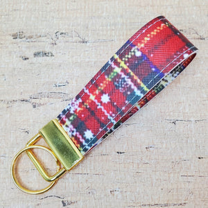 Christmas Plaid Key Fob