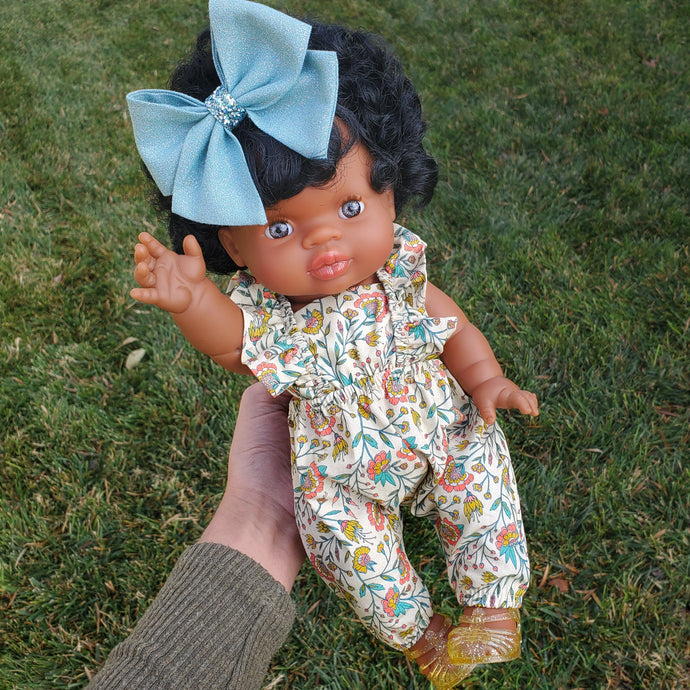 Minikane Imany DOLL - Blue Eyes - Black Curly Hair