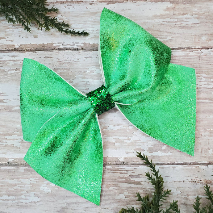 Green Shimmer Suede Leatherette Bow
