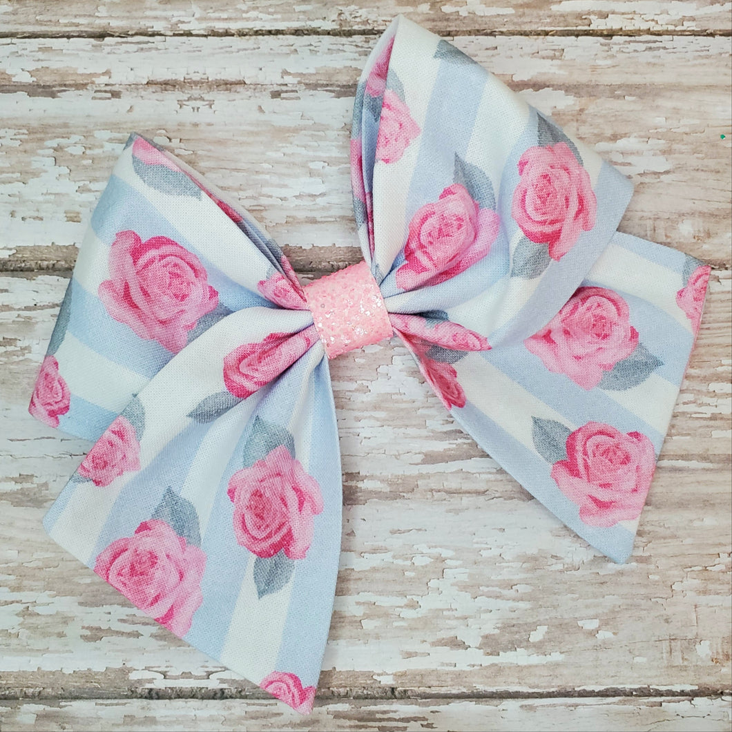 Rose Stripe Bria Bow