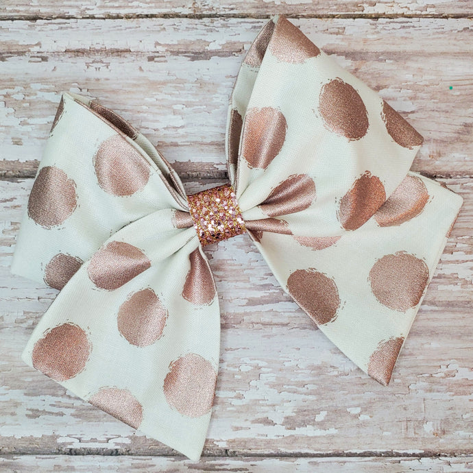 Metallic Rose Gold Dots Bria Bow