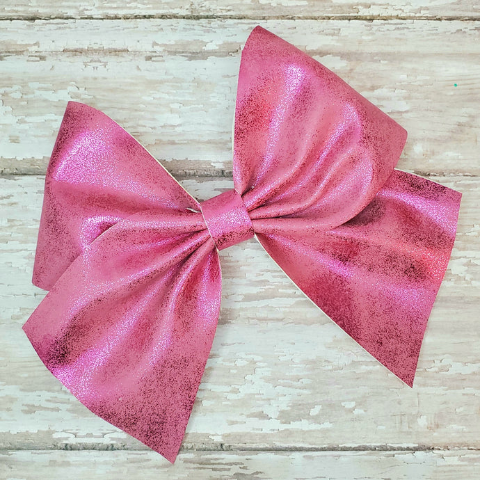 Rose Pink Shimmer Suede Leatherette Bow