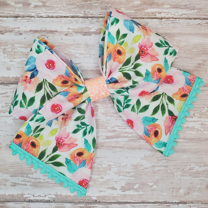 Coral Floral Bria Bow