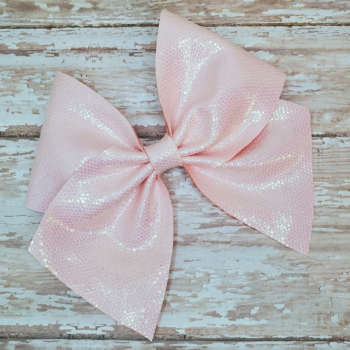 Pixie Pink Soft Leatherette Bow