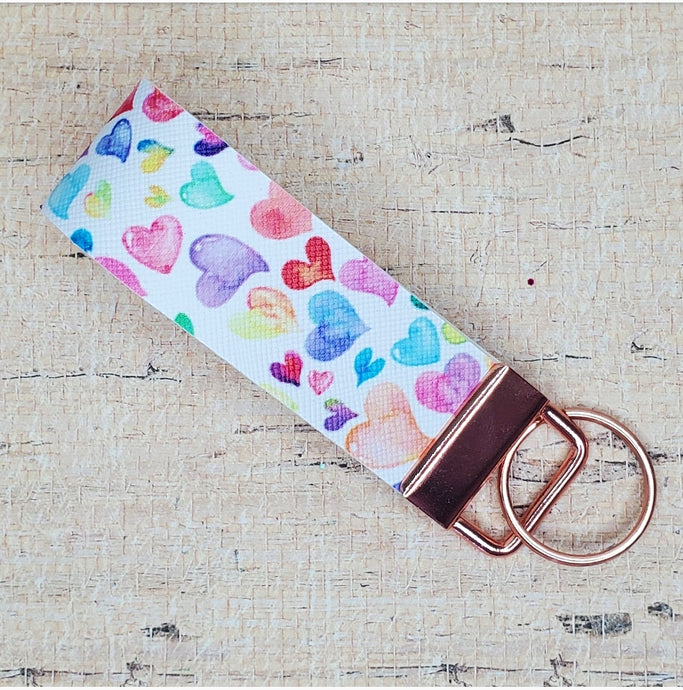 Rainbow Hearts Key Fob