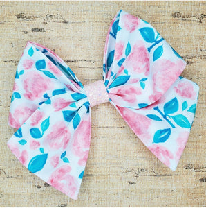 Pink Watercolor Floral Bria Bow