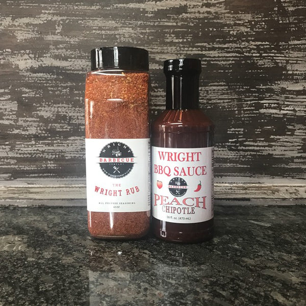 27oz Wright Rub All Purpose and 16oz Peach Chipotle Sauce - Wright BBQ Company