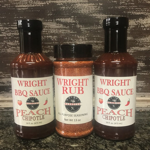 Two BBQ Sauce & 13oz All Purpose Wright Rub - Wright BBQ Company