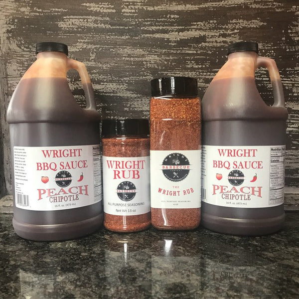Two Half Gallons Peach Chipotle Sauce, 27oz All Purpose Wright Rub And 13oz All Purpose Wright Rub - Wright BBQ Company