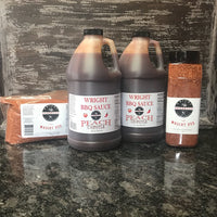 Two Half Gallons Peach Chipotle Sauce, 27oz All Purpose Wright Rub And 2lb Bag All Purpose Wright Rub - Wright BBQ Company