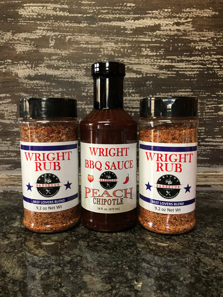 Two 9.2oz Beef Lovers, 16oz Peach Chipotle - Wright BBQ Company