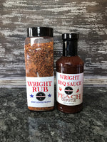 25oz Beef Lovers Blend and 16oz Peach Chipotle BBQ Sauce - Wright BBQ Company