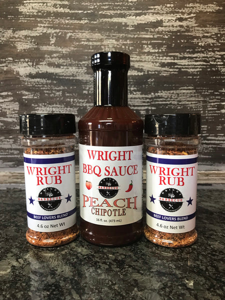 Two 4.6oz Beef Lovers Blend and 16oz Peach Chipotle - Wright BBQ Company