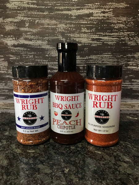 16oz Peach Chipotle, 9.2oz Beef Lovers Blend, 11.5oz All Purpose - Wright BBQ Company