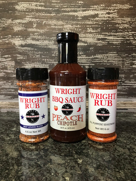 16oz Peach Chipotle, 4.6oz Beef Lovers Blend, 5.5oz All Purpose - Wright BBQ Company