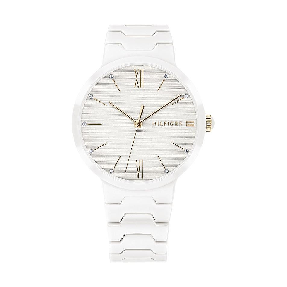 Tommy Hilfiger Womens White Ceramic Bracelet Avery Watch