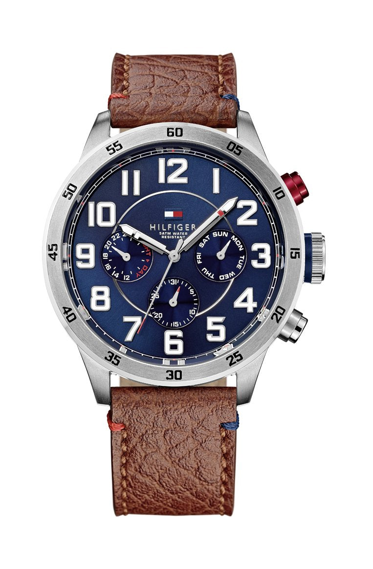 Tommy Hilfiger Men's Trent Watch - BROWN LEATHER