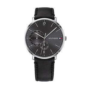 Tommy Hilfiger Casual Watch with Black Stitched Leather Strap