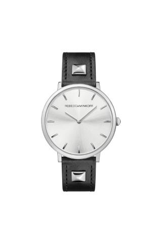 REBECCA MINKOFF Major Silver Tone Pyramid Studded Leather Watch