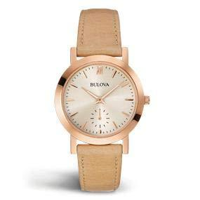 Bulova Watches Women's Leather Watch - Beige