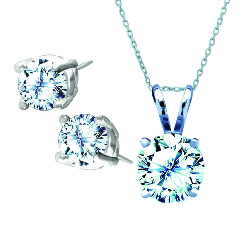 Antwerp Diamonds Combination Royal Stud Earrings and Dream Necklace in 14k wg with .05 ct Diamonds