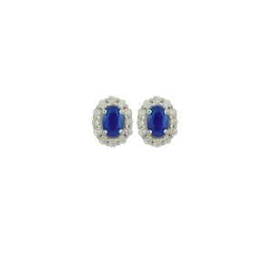 "Antwerp Diamonds ""Princess Di"" Halo Diamond Earrings With Genuine Sapphires"