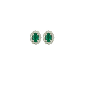 "Antwerp Diamonds ""Princess Di"" Halo Diamond Earrings With Genuine Emeralds"
