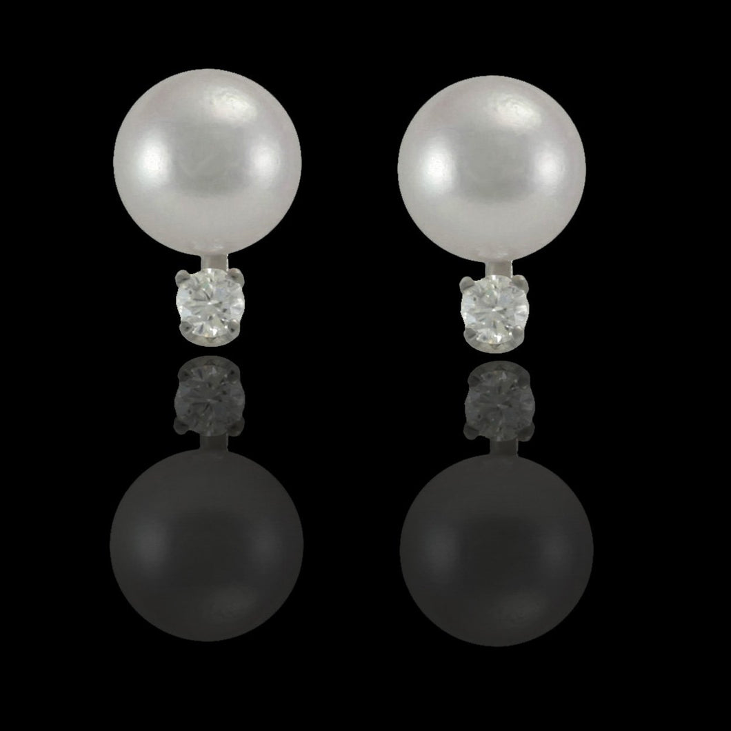 Antwerp Diamonds Classic Pearl & Diamond Stud Earrings - White Gold