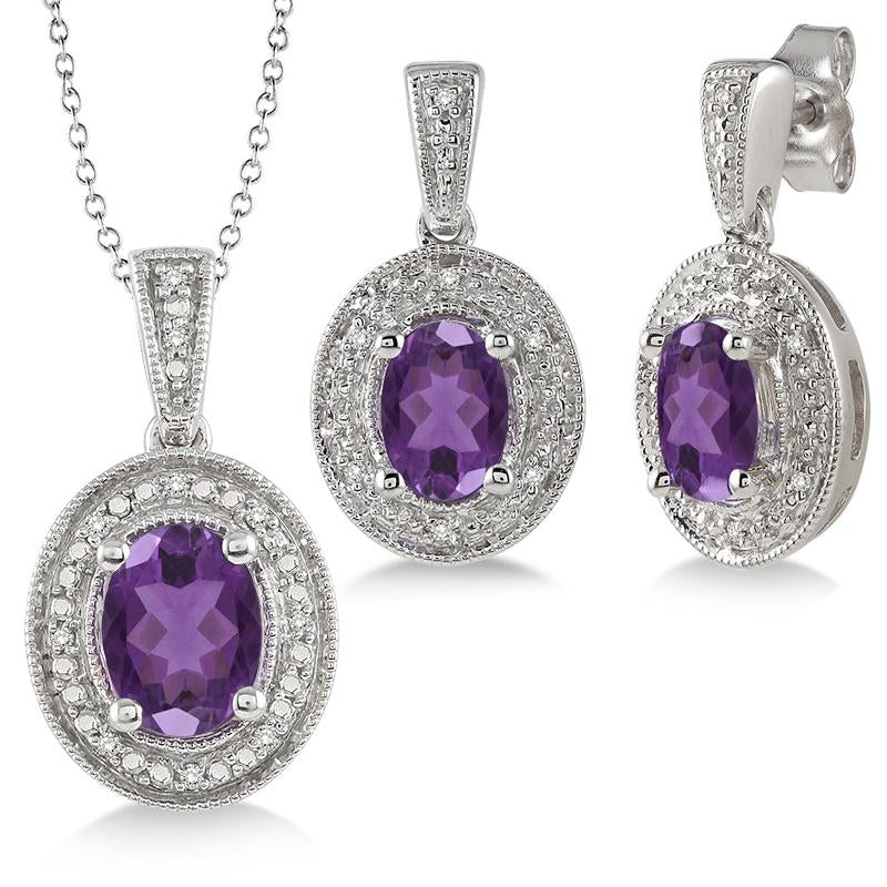 Jilco Inc Amethyst & Diamond Set
