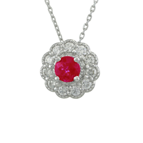 Antwerp Diamonds Diamond and Ruby Halo Cable Necklace