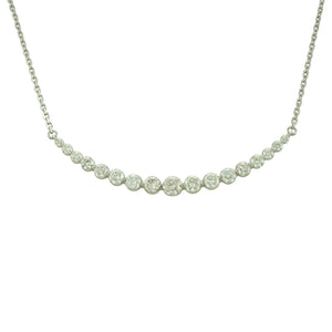 "Antwerp Diamonds Large ""Graduated Crescent"" Necklace set with 17 round br dias weighing approx 1.85 ct"