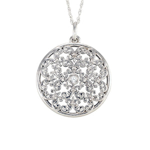 "Antwerp Diamonds Designer ""Vintage Disc""  Necklace in 14k white gold with .03 ct round brilliant diamond center"