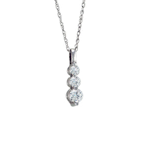 "Antwerp Diamonds Shared-Prong ""Trilogy"" Necklace-.50tcw"