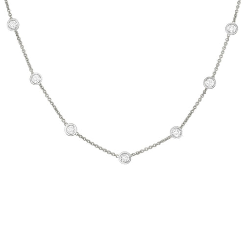 14k wg Classic Diamond-By-The-Yard Pendant with 7 rd br diamonds totaling .50tcw