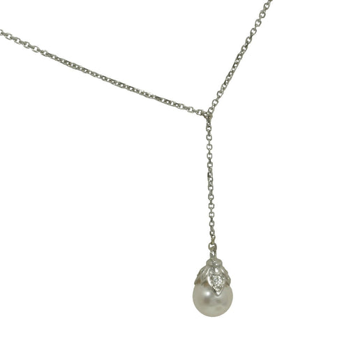 Antwerp Diamonds 'Forever' Pearl and Diamond Accented Drop Pendant in 14k white gold