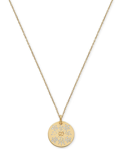 Gucci White Enamel Floral Disc Pendant Necklace?¨