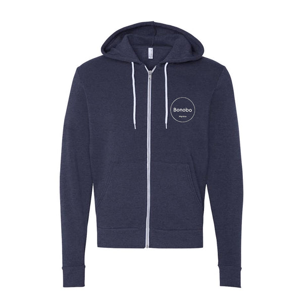 MIGRATION HEATHER NAVY ZIP UP HOODIE
