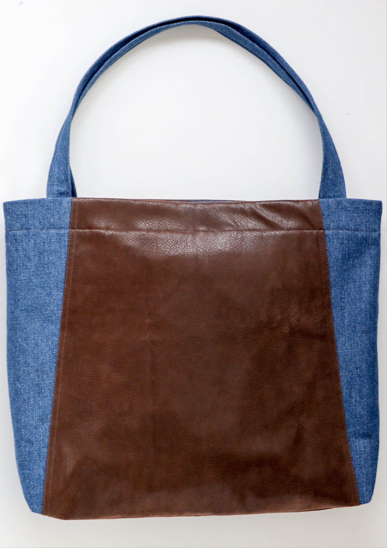 FAUX LEATHER/ DENIM TOTE BAG