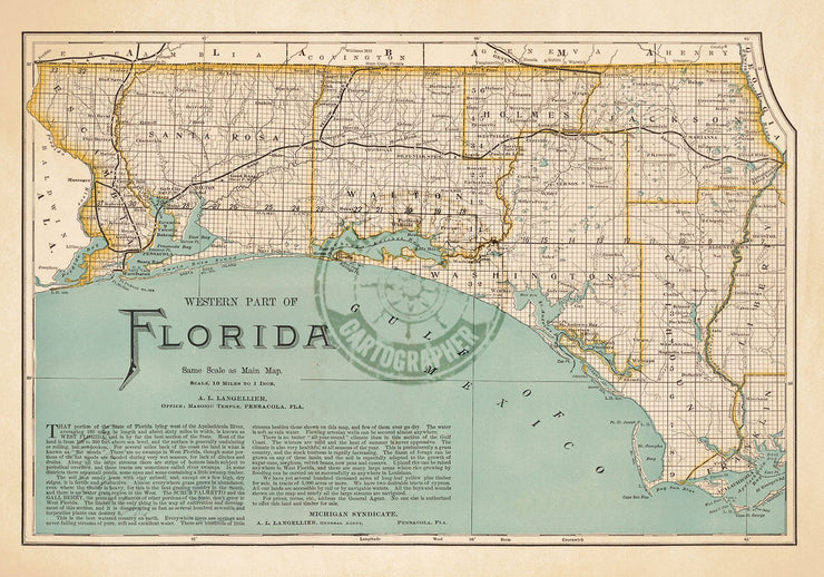 Map Of Western Florida.Map Of The Western Part Of Florida 1890 The Antique Cartographer