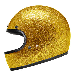 Full Face Retro Motorcycle Helmet - Cafe Racer - Shiny Gold