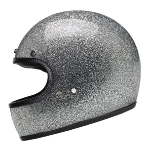 Full Face Retro Motorcycle Helmet - Cafe Racer - Shiny Silver