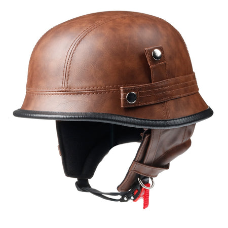 Smallest Half Helmet - Brown Leather
