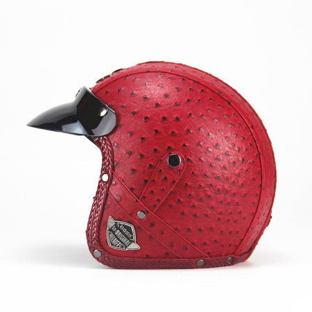 Premium Leather Helmet 3/4 - Riders Gear Store