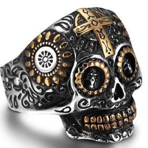 Silver Biker Skull Cross Ring - Riders Gear Store