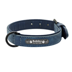 Blue personalized dog collar