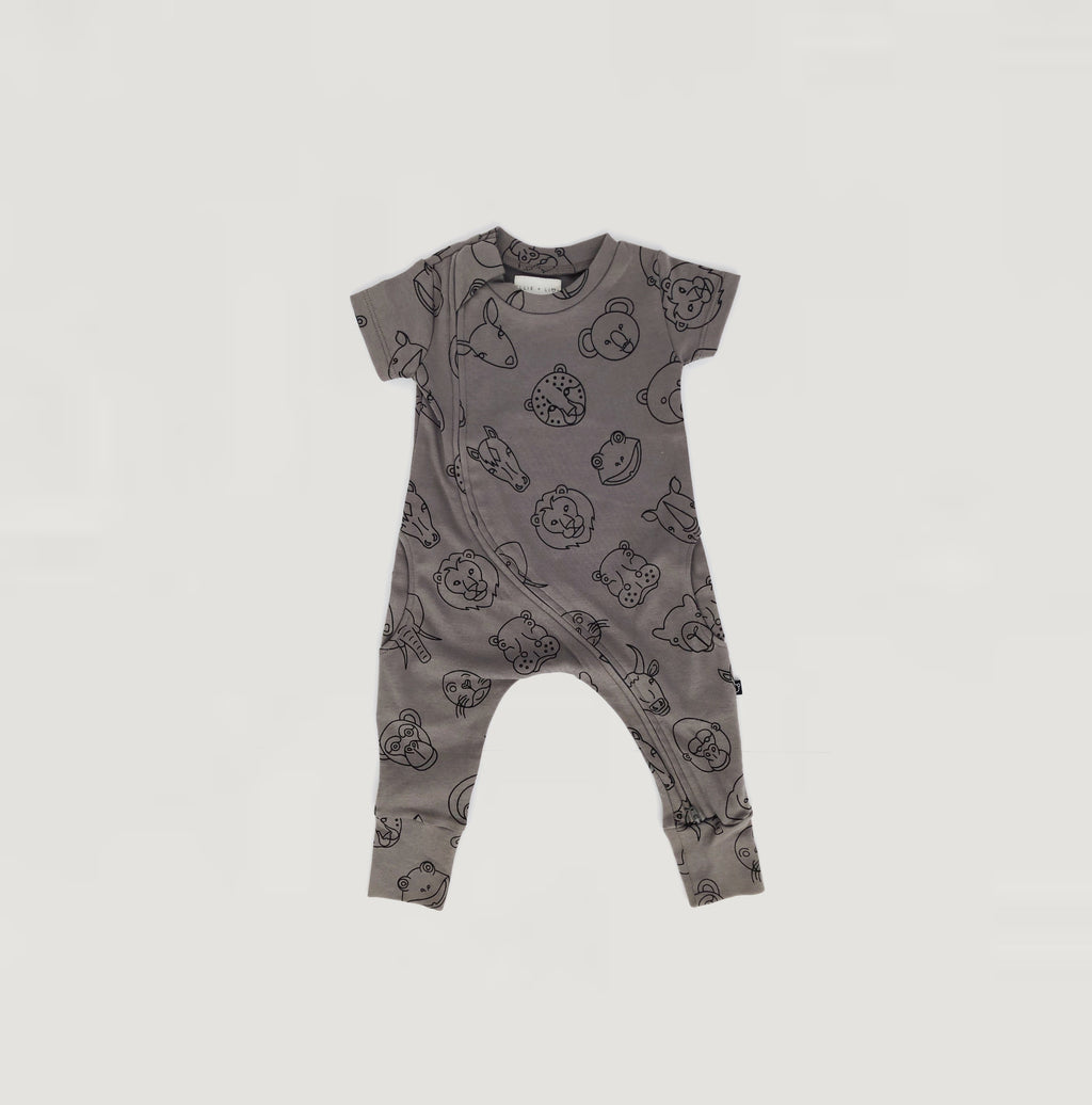 Animal print playsuit - dark grey