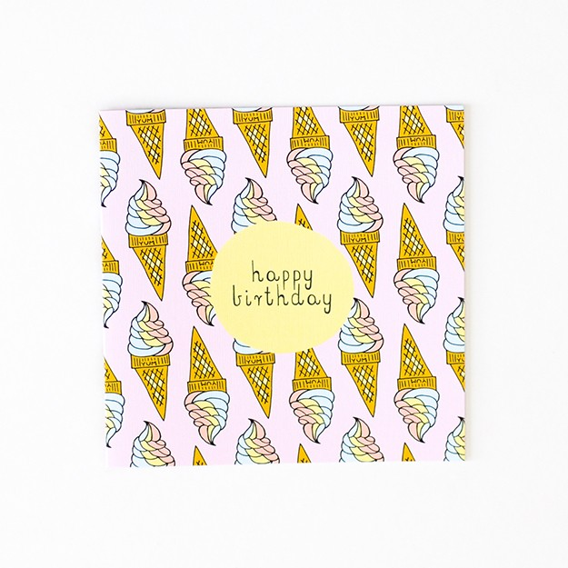Greeting Card - Happy Birthday - Ice Cream Yum