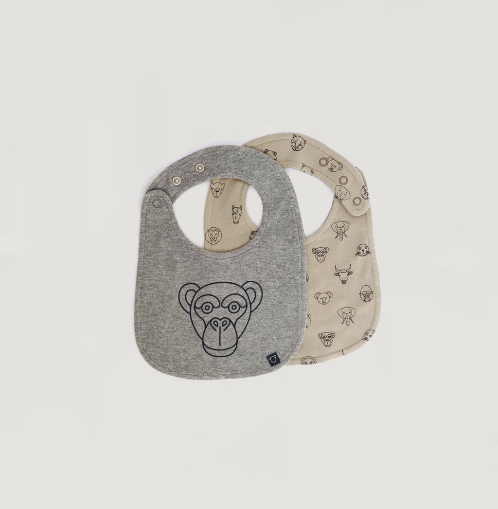 Monkey print bib - reversible